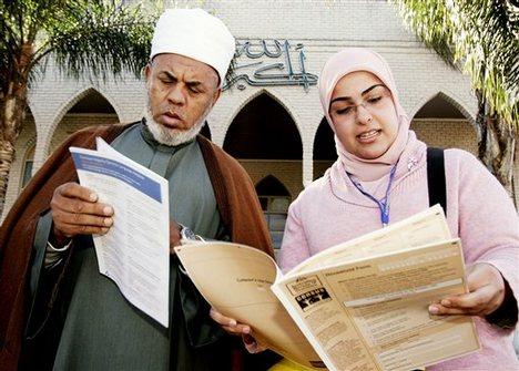 Mufti of Australia, Sheik Taj Aldin Alhilali, left, inspects census forms